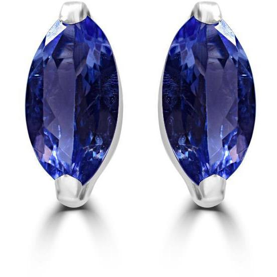 Tanzanite Stud Earnings Premium AAAA Marquise Cut Tanzanite in 18ct White Gold
