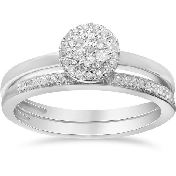 Matching Bridal Set of Engagement and Wedding ring -  2 white gold diamond rings
