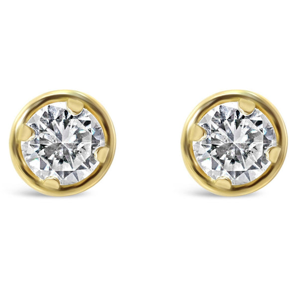 Yellow Gold Diamond Studs In Halo Setting