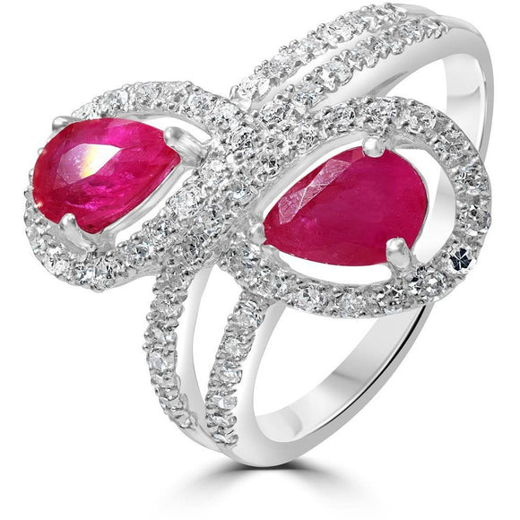 Two stone Ruby and Diamond ring