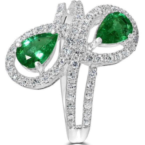 Two stone Emerald and Diamond ring