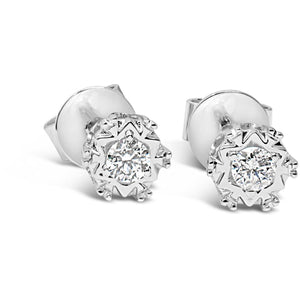 White Gold Diamond Earrings With Detailed Setting And Bright Diamonds