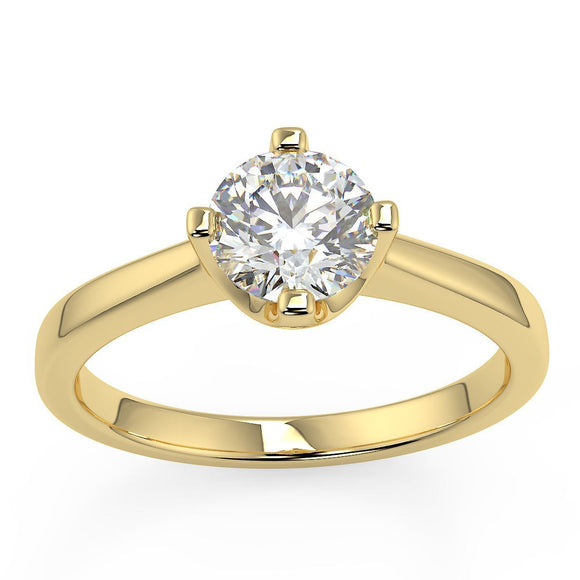 Yellow gold diamond single stone ring for women in choice of diamond sizes with 4 claw setting