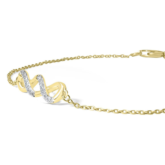 Yellow Gold Diamond Double Infinity Bracelet
