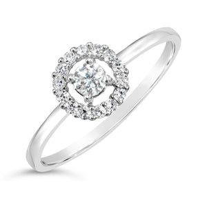 Halo Diamond Solitaire Ring in White Gold