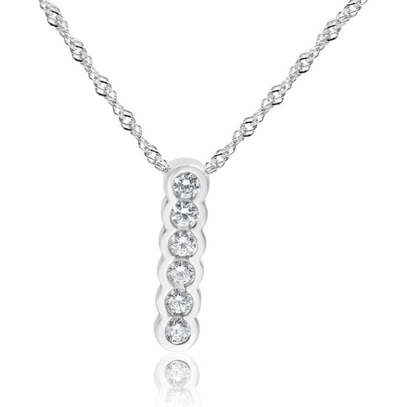 Six Stone Diamond Drop Necklace Bezel Set in 14ct White Gold