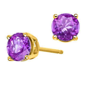 AMETHYST EARRINGS IN YELLOW GOLD - G&S Diamonds