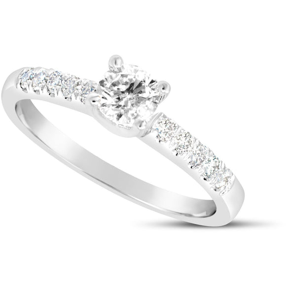 Engagement ring with stones set on the shoulders with a total 1/2ct of Diamonds
