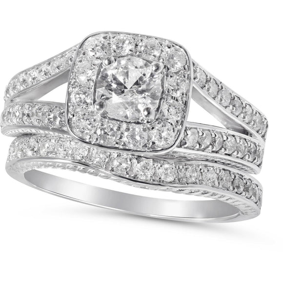 One Carat Diamond Total Bridal Set of Matching Engagement and Wedding ring