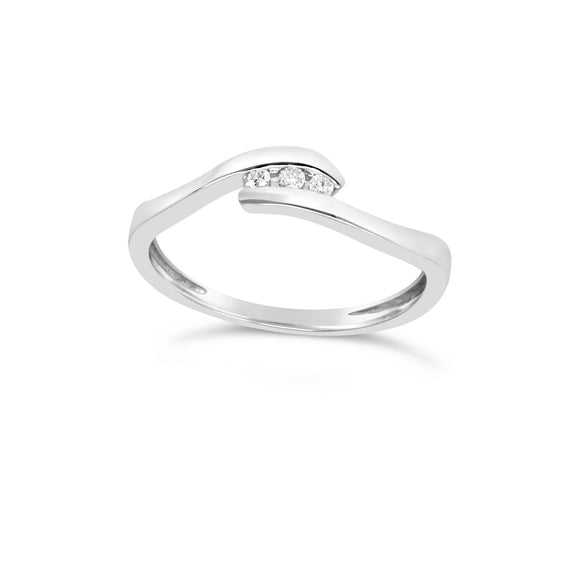 CROSSOVER WHITE GOLD BAND WITH DIAMONDS - G&S Diamonds