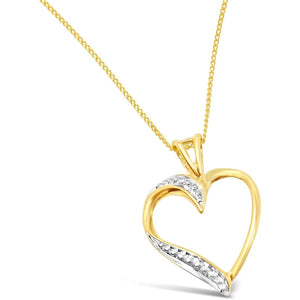 HEART SHAPED DIAMOND PENDANT WITH NECKLACE YELLOW GOLD - G&S Diamonds