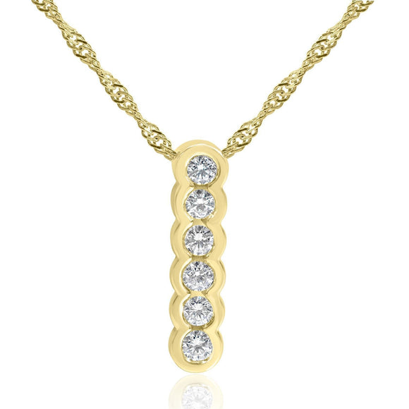 Six Stone Diamond Drop Necklace Bezel Set in 14ct Yellow Gold