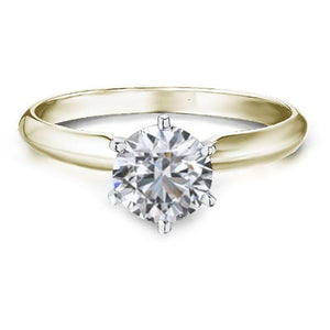 YELLOW GOLD DIAMOND RING 1 CARAT SOLITAIRE WITH DIAMOND GRADING REPORT - G&S Diamonds