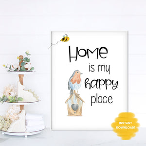 HOME is my Happy Place Wall Print,  Digital Wall Art Print
