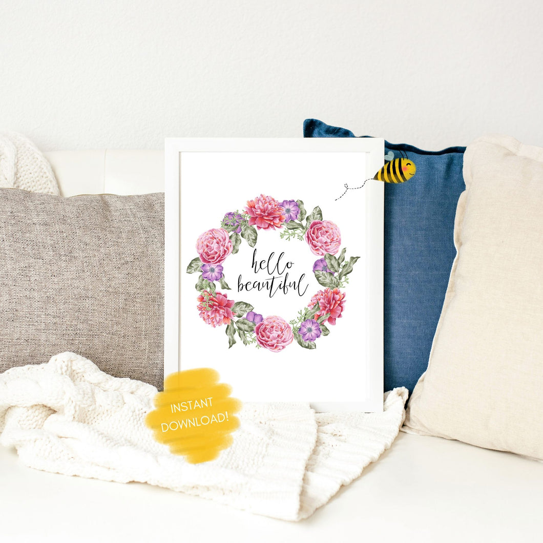 Hello Beautiful Floral Wall Print,  Digital Wall Art Print