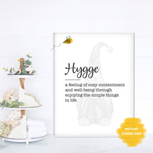 Load image into Gallery viewer, Hygge Gnome Quote Wall Print,  Digital Wall Art Print