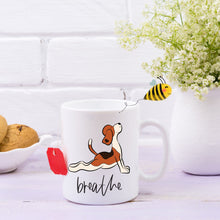 Load image into Gallery viewer, Breathe Yoga Beagle Mug, 11oz Coffee Mug, Beagle Coffee Mug