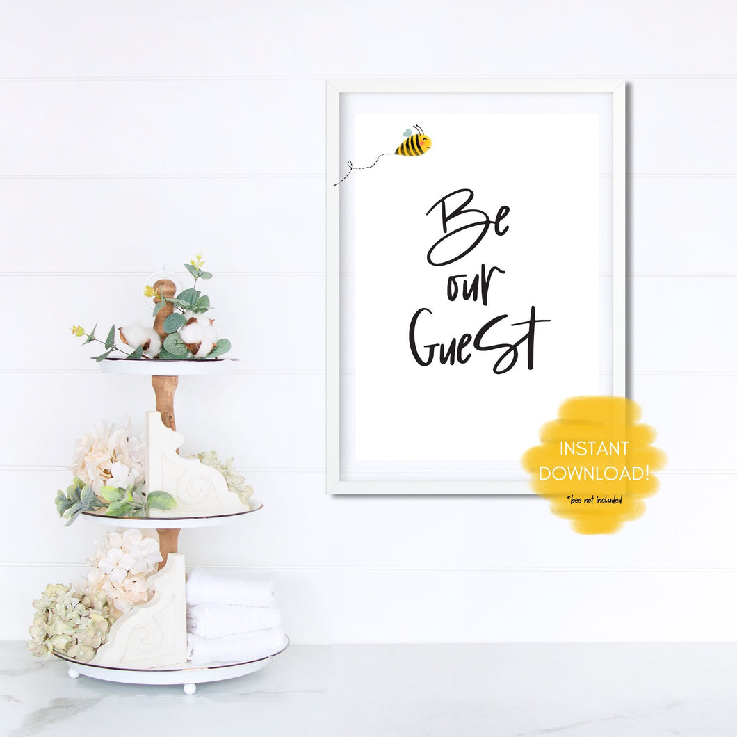 Be Our Guest Disney Quote Wall Print, Digital Download, Digital Wall Art Print