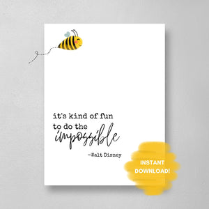 Walt Disney Quote Wall Print, Digital Wall Art Print