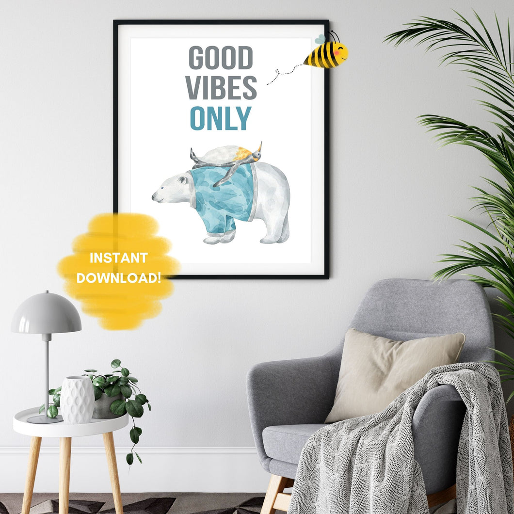 Good Vibes Only Quote Wall Print,  Digital Wall Art Print