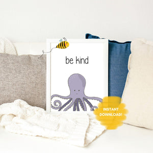 Be Kind Wall Print,  Digital Wall Art Print