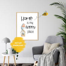 Load image into Gallery viewer, HOME is my Happy Place Wall Print,  Digital Wall Art Print