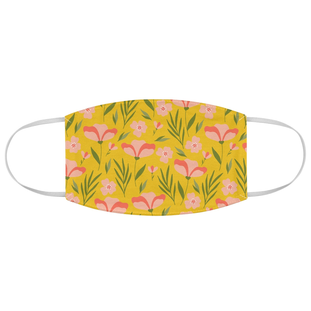 Peachy Floral Fabric Face Mask