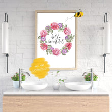 Load image into Gallery viewer, Hello Beautiful Floral Wall Print,  Digital Wall Art Print