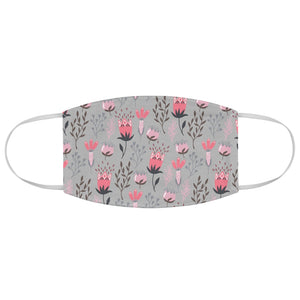 Pink and Gray Floral Fabric Face Mask