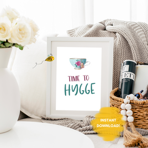 Time to Hygge Wall Print,  Digital Wall Art Print