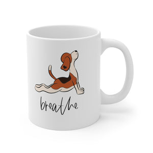 Breathe Yoga Beagle Mug, 11oz Coffee Mug, Beagle Coffee Mug