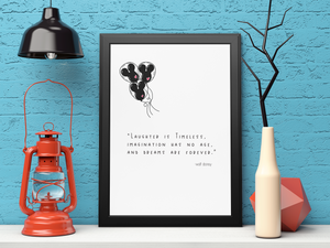 Laughter is Timeless Disney Quote Wall Print,  Digital Wall Art Print