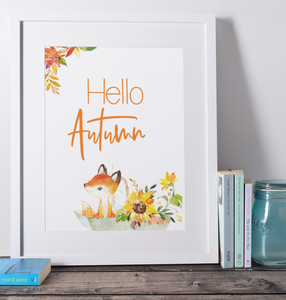Hello Autumn Fox and Floral Wall Print,  Digital Wall Art Print