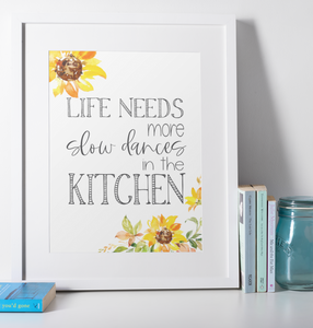 Slow Dances in the Kitchen Floral Wall Print,  Digital Wall Art Print