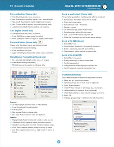 Excel 2019 INTERMEDIATE Cheat Sheet