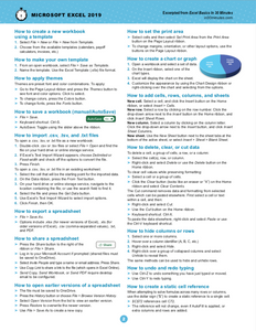 Excel 2019 Cheat Sheet