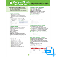 Load image into Gallery viewer, Google Sheets INTERMEDIATE Cheat Sheet