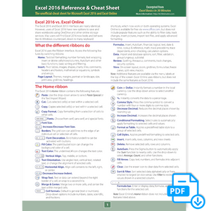 Excel 2016 Cheat Sheet