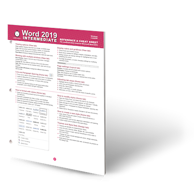 Word 2019 Intermediate Desktop Reference and Cheat Sheet