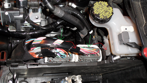 remove the harness clips from the ecu  push on the grey connector(indicated  with green arrows) and swing the white harness clip lock(indicated by the  red