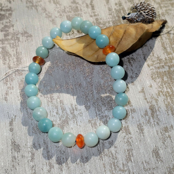 Akiki™ Amazonite Bracelet for Optimism • Hope • Playfulness - Elastic- Natural crystals - Customizable - Free jewelry pouch - Saatwa