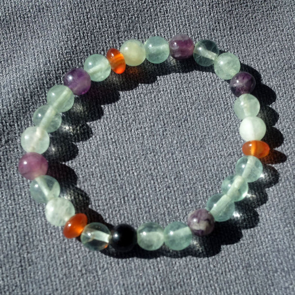 Akiki™ Fluorite Bracelet for Peace • Wishes • Positivity - Elastic - Natural crystal - Customizable - Free jewelry pouch - Saatwa