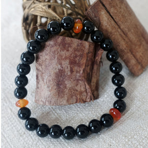 Akiki™ Black Obsidian Bracelet for Self-Reflection • Protection • Cleansing - Elastic - Natural crystals - Customizable - Free jewelry pouch - Saatwa