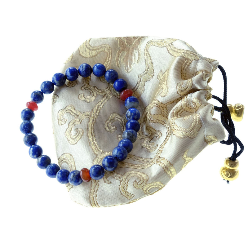 Akiki™ Lapis Lazuli Bracelet for Wisdom • Truth • Leadership • Communication • Intuition - Elastic - Natural - Customizable - Free pouch - Saatwa