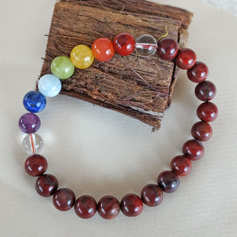 Espri™ Root Chakra Bracelet - Elastic red jasper crystals bracelet, customizable in length and bead size - Free jewelry pouch - Saatwa