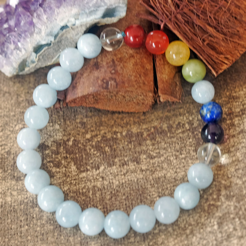 Throat Chakra Bracelet - Espri™ Natural Aquamarine crystals - Customizable in length and bead size - Free jewelry pouch - Saatwa