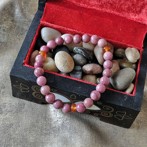 Akiki™ Rhodochrosite Bracelet for Self-Worth • Love • Confidence - Elastic - Natural crystals - Customizable - Free jewelry pouch - Saatwa