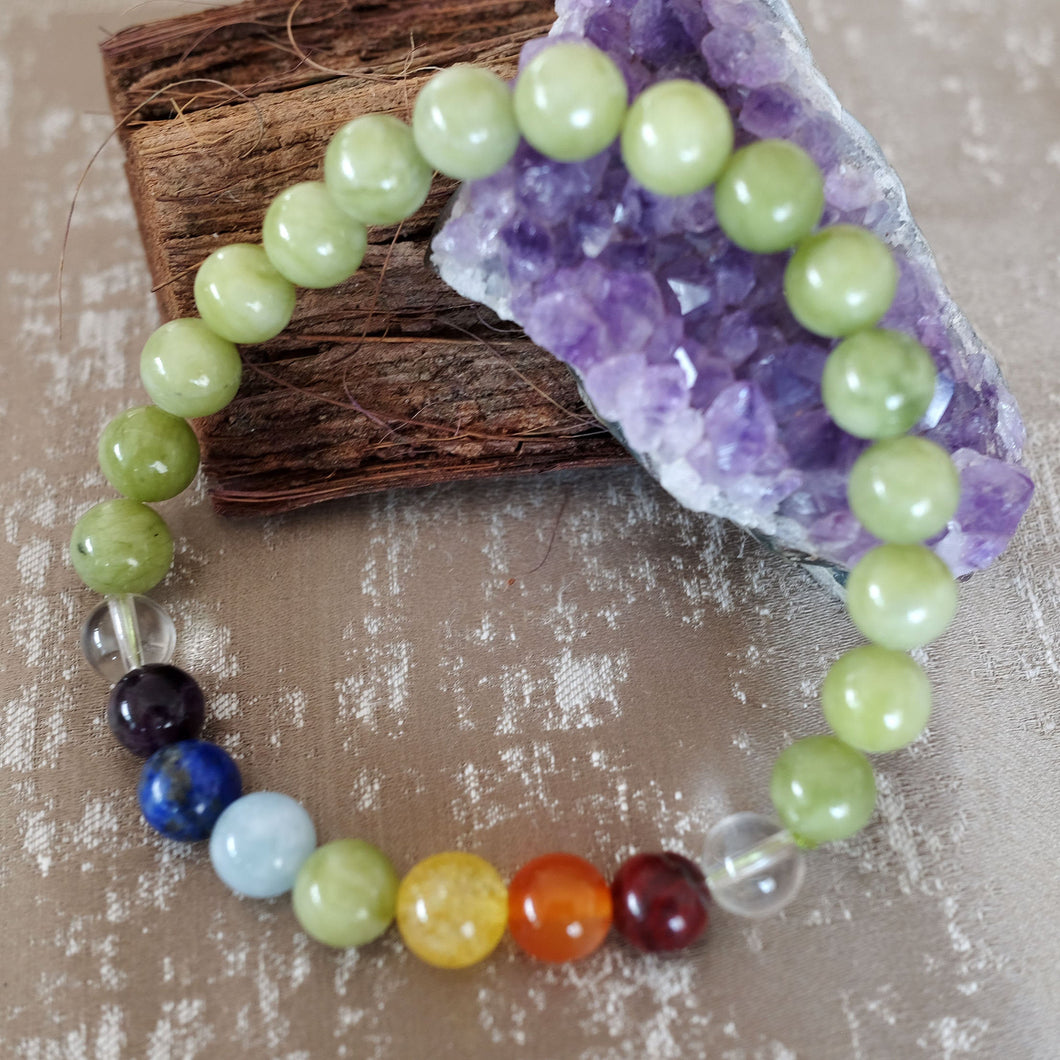 Espri™ Heart Chakra Bracelet - Elastic chinese jade crystals - Customizable in length and bead size - Free jewelry pouch - Saatwa