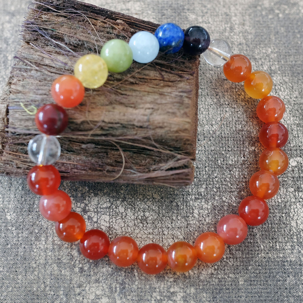 Espri™ Sacral Chakra Bracelet - Elastic carnelian crystals bracelet, customizable in length and bead size - Free jewelry pouch - Saatwa