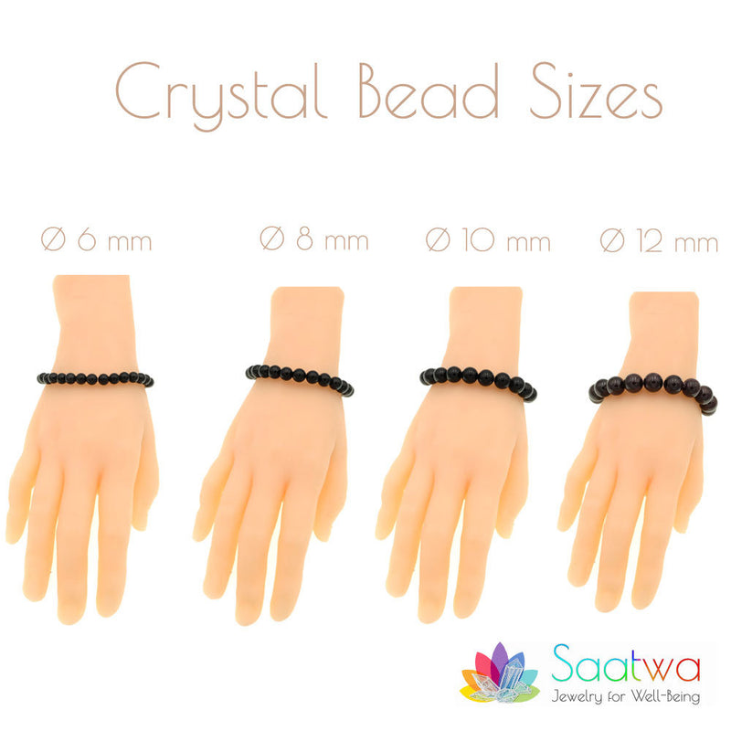 Espri™ Seven Chakra w/Black Tourmaline Bracelet - Elastic - Natural healing crystals - Customizable in length and bead size - Free pouch - Saatwa